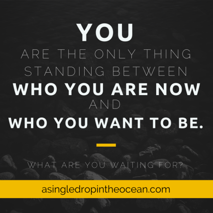You are the only thing standing between who you are now and who you want to be
